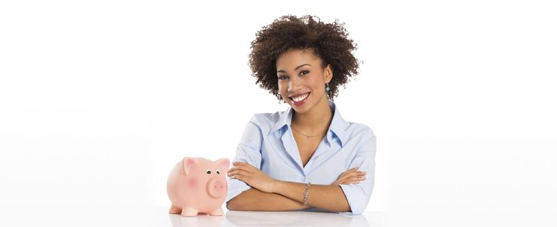 woman saving money concept